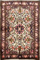 Floral IVORY/NAVY Bidjar Area Rug Wool Hand-Made Home Decor Oriental Carpet 4x5