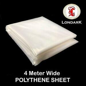 Plastic Clear 4M WIDE POLYTHENE Greenhouse Cover Dust Sheet Heavy Duty 100mu