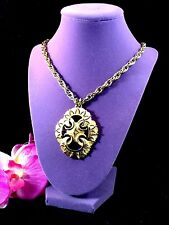 1960'S CROWN TRIFARI GOLD-TONE CHAIN NECKLACE MOGHUL INDIA MEDALLION PENDANT
