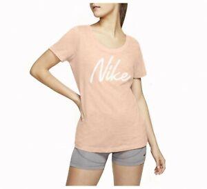 BNWT Women's Nike Dri-FIT Logo Training T-Shirt - S - Peach Pink - Pastel Orange