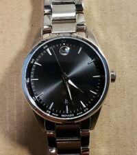 Movado Stratus 0607243 Watch With 40mm Black Face & Silver Breclet