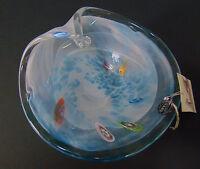 "NEW Murano Italy ART GLASS CANDY DISH 9"" Blue Ocean Wave Millifiori Nut Bon Bon!"