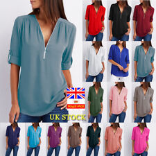 Plus Size Women Chiffon Long Sleeve Loose Blouse Ladies V Neck Tunic Tops Shirt