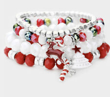 CHRISTMAS RED WHITE AND SILVER STRETCH CRYSTAL DANGLE CHARM SET OF 4 BRACELET