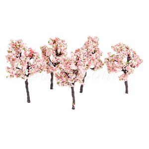 UK 10Pcs Model Tree Train Forest Wood Pink Flowers Layout 11cm OO HO Scale