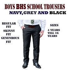 Boys BHS School Trousers Regular,Generous,Skinny Fit  Black,Grey,Navy
