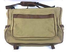 "Eddie Bauer Ford Garment Bag Tan Canvas Leather Suit Dress Suitcase Travel 25"""