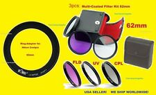 RING ADAPTER +FILTER KIT UV CPL FLD 62mm for CAMERA NIKON COOLPIX P510 P520 P530
