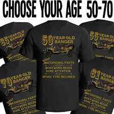 Mens Birthday T Shirt OLD BANGER Funny Gift 50th 60th 70th Choose 50 70 Tshirt
