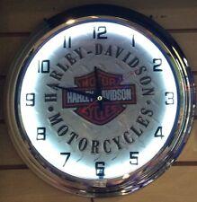 Harley-Davidson Motor Cycles White Neon Wall Clock Car Truck Automotive Sign