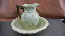 Antique  Spongeware Pitcher & Basin Exquisite Pattern  Pastel Green and Blue