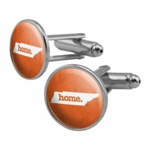 Tennessee TN Home State Textured Orange Round Cufflink Set Silver Color