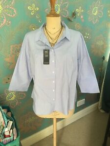 Marks And Spencers Ladies Plus Size 24 Collection BNWT Shirt Cotton Stretch