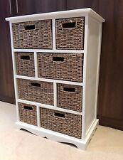 White Brown Storage Unit Wicker Baskets Chest of Drawers Shabby Chic Bedroom
