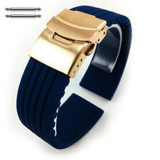 Blue Rubber Silicone Watch Band Strap Rose Gold Double Locking Clasp #4015RG