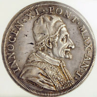 1676, Vatican, Pope Innocent XI. Silver Piastra (80 Bolognini) Coin. NGC AU-58!