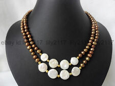 AA 2 Rows 7-8mm coffee color and 11-12mm white coin freshwater pearl necklace