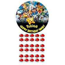 Pokemon Go Personalised Custom Edible Party Cake Decoration Topper + 30 Cupcake