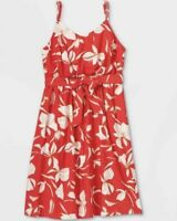 2X - Women's Plus Floral Print Waist Tie Tank Dress Ava & Viv Sundress Beach