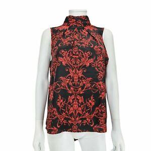 Next Black Red Pattern Sleeveless Top UK 12 High Neck Deep Back Hem