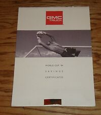 Original 1994 GMC Truck World Cup 94 Savings Certificates Sales Brochure