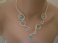 Collier Bleu Turquoise/Gris pr robe de Mariée/Mariage/Soirée perles pas cher