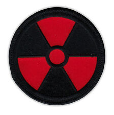 Motorcycle Jacket Embroidered Patch - Radioactive Nuclear Symbol (Black, Red)