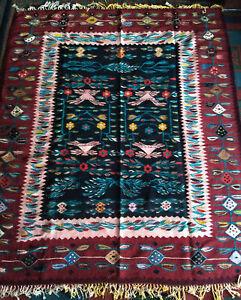 tapis kilim roumain Oltenie floral, Oltenia Romanian folk rug carpet 220X185 cm