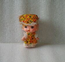 Vintage Small Rubber + Plastic Doll In Original Case, Made In Hong Kong,1960-70