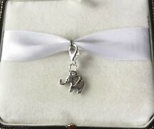 BEAUTIFUL CUTE BABY ELEPHANT CLIP ON DANGLE CHARM, TIBETAN SILVER CLIP ON CHARM