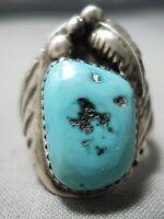 Ajustável Tamanho 10-14! Prata Esterlina Navajo Turquesa Anel De Seta