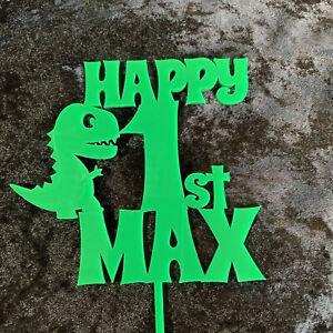 Personalised Happy Birthday Cake topper. Kids Cake topper. Dinosaur. Acrylic