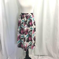 Vintage 80s Teal Pink Print Midi Skirt M