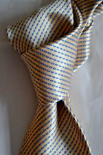 "$285 NWT STEFANO RICCI Yellow w/ blue chain link stripes 3.5"" satin silk tie"