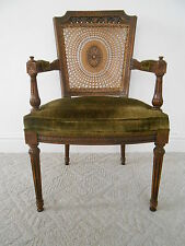 Vintage Superb Spider Web Cain Back Hollywood Regency Arm Chair Mid Century