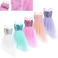 Girls Latin Ballet Modern Dance Dress Kid Ballerina Party Jazz Dancewear Costume