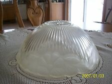 Glass Ceiling Shade 1930's Frosted Floral & Ribbed Design Scalloped Edge
