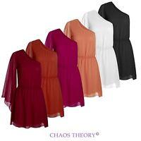 Womens Ladies One Shoulder Arm Boho Grecian Gypsy Top Retro Chiffon Dress