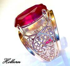 14ct Rose Gold, Ruby Cocktail Ring, Size K, Soviet Gold 583 14K Yerevan, Armenia