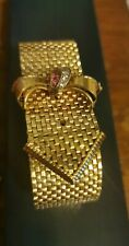 Antique Gold Diamond Ruby's Strap Bracelet thick and heavy