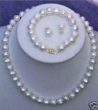Genuine Cultured Freshwater White Pearl Necklace Bracelet & Earring Set A+08