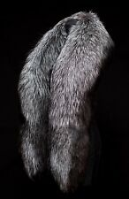"Superior Luxurious Saga Fur Giant 71"" Silver Fox Fur Handmade Boa Stole Shawl"