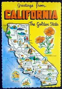 """1960s """"Greetings from California"""" State Pictorial Map Card The Golden State"""
