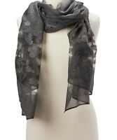 Women Black Floral Sheer Scarf Beautiful Summer Shawl Wraps Scarves Girls Stole