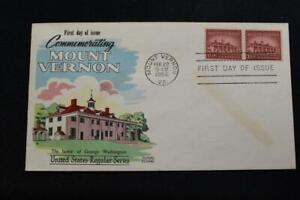 FLUEGEL COVER 1956 1ST DAY ISSUE GEORGE WASHINGTON'S HOME MOUNT VERNON (5237)