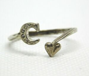 Vintage NV Sterling Silver Initial C Heart Open Band Ring CZ Accents Size 11.75