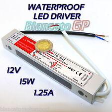 LED DRIVER IP67 15W 12V DC 1.1A WATERPROOF IMPERMEABILE ALIMENTATORE 220V AC