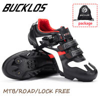 BUCKLOS MTB Road Bike Mens Shoes Gym Sneakers Lock Racing for Shimano SPD Look