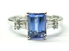 Emerald Cut Tanzanite & Diamond Ring Platinum 950 2.20Ct AAA/VS