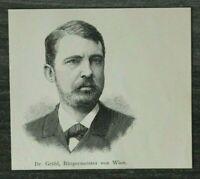 HO4) Holzschnitt 1885-1900 Dr. Grübl Bürgermeister von Wien Österreich Portrait